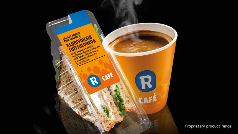 R-kiosk packaging - sandwitch and a cup of coffee