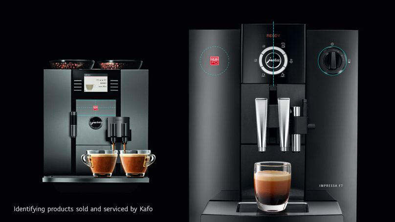Guide to placing the KAFO logo on coffee machines