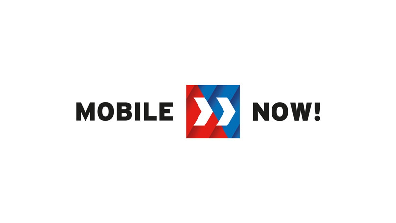Mobile now logo on white background